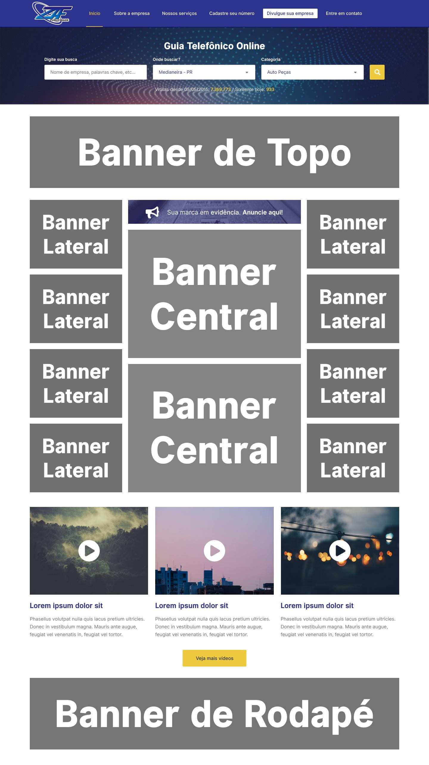 Exemplo de posicionamento dos banners